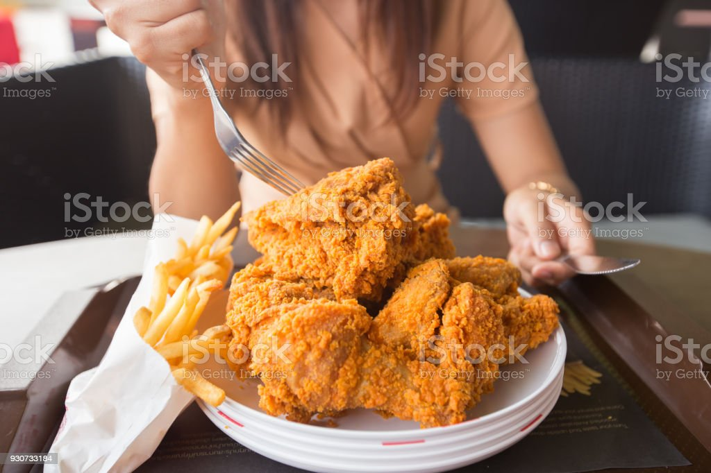 Fried Chicken In Young Woman Hand Select Focus Hand With Fried