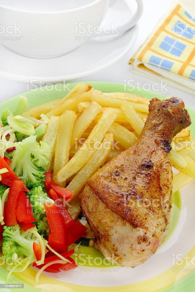 Fried chicken leg royalty-free stock photo