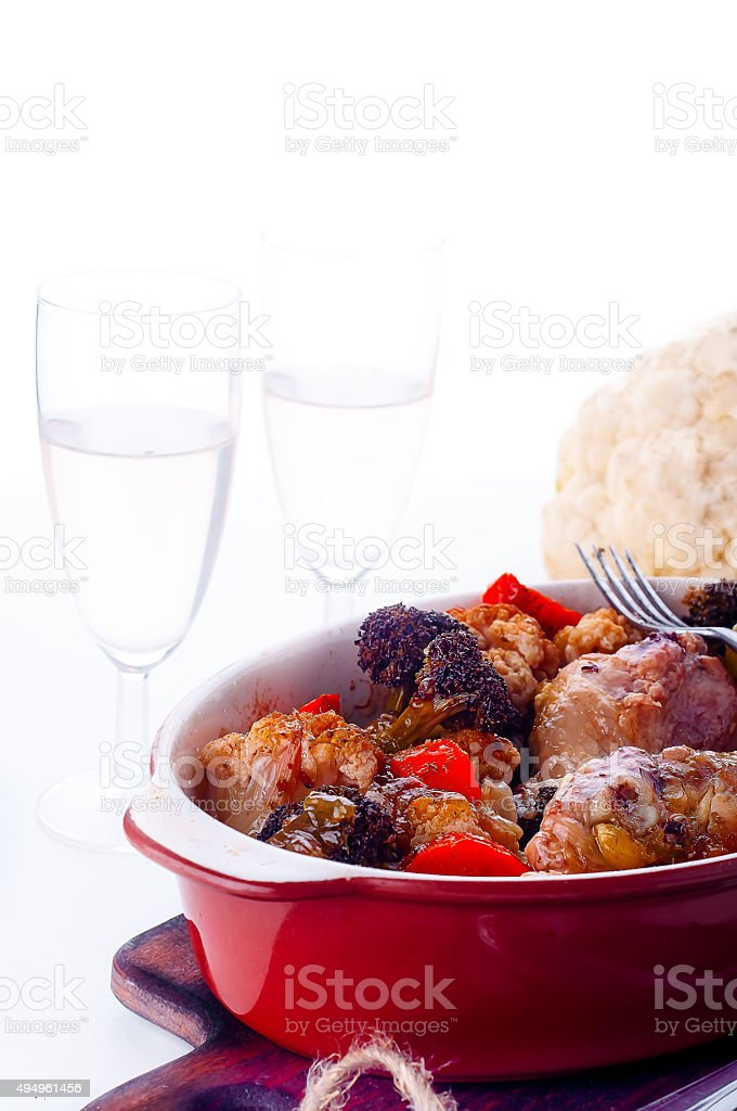 Fried chicken legs with vegetables stock photo