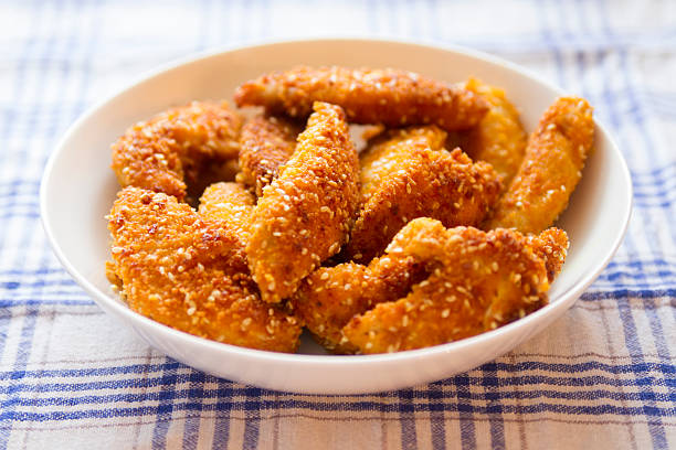 fried chicken - sesame stock photos and pictures
