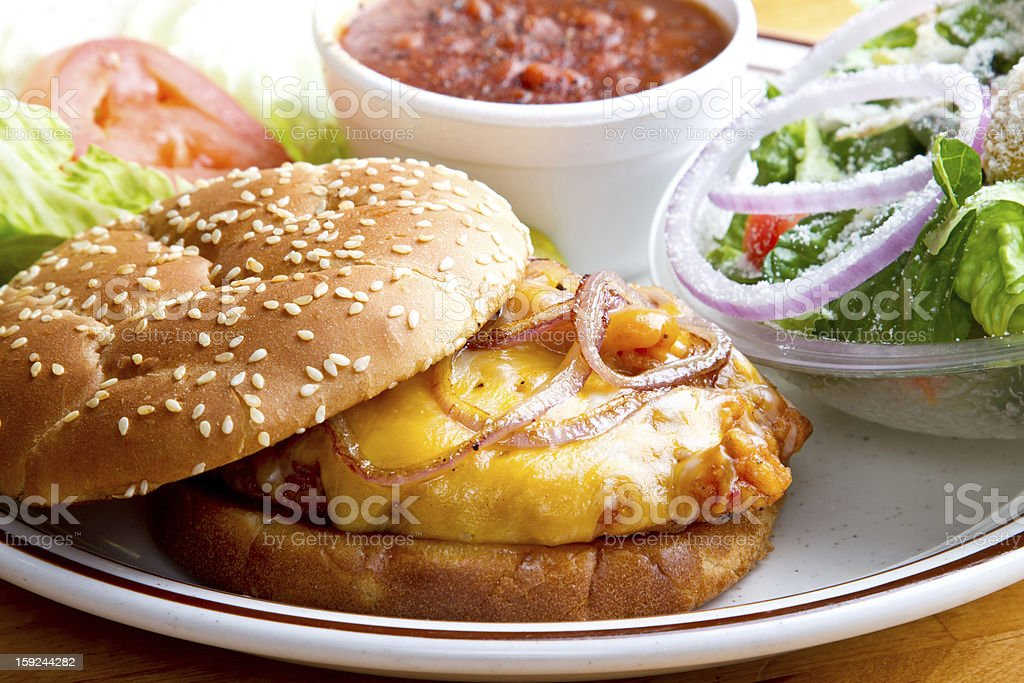 Fried Chicken Sandwich with Beans and Salad stock photo