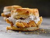 Fried Chicken Sandwich with Sausage Gravy on a Biscuit