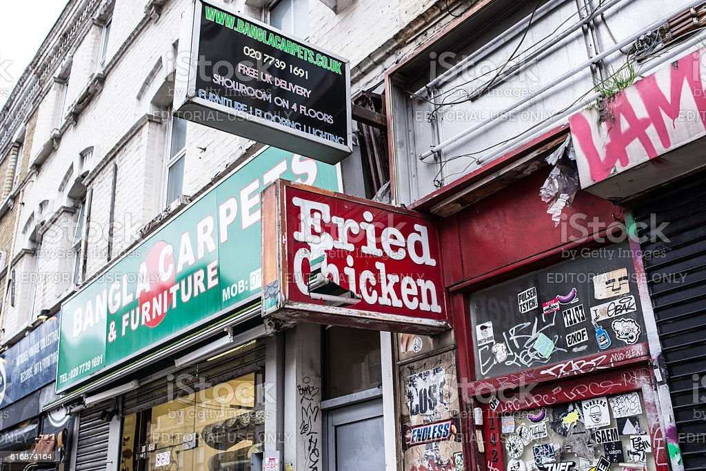 Fried chicken shop sign on UK street stock photo
