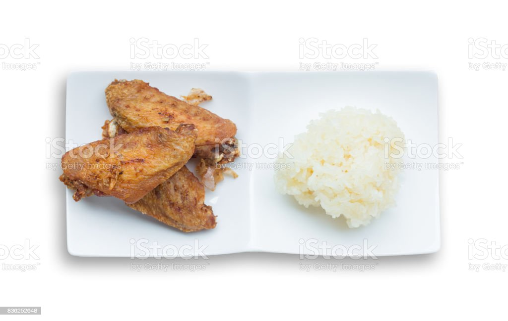 Fried Chicken Wings And Crispy Garlic With Sticky Rice