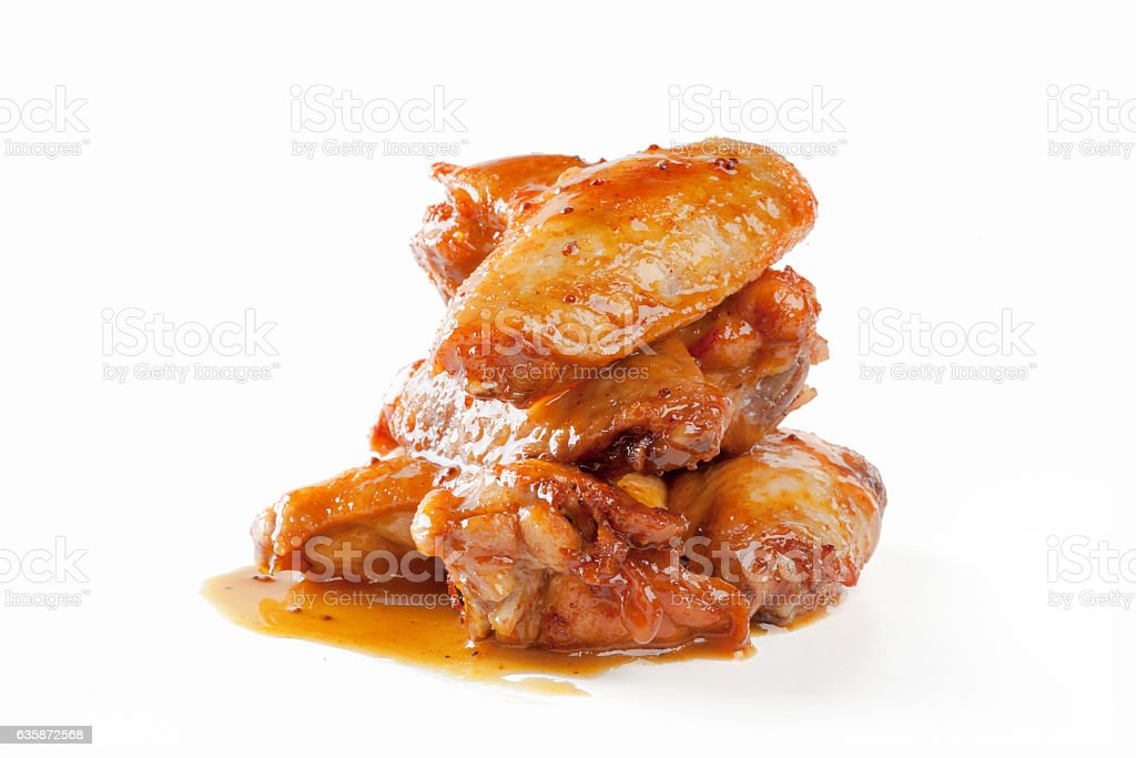 Fried chicken wings isolated on white stock photo