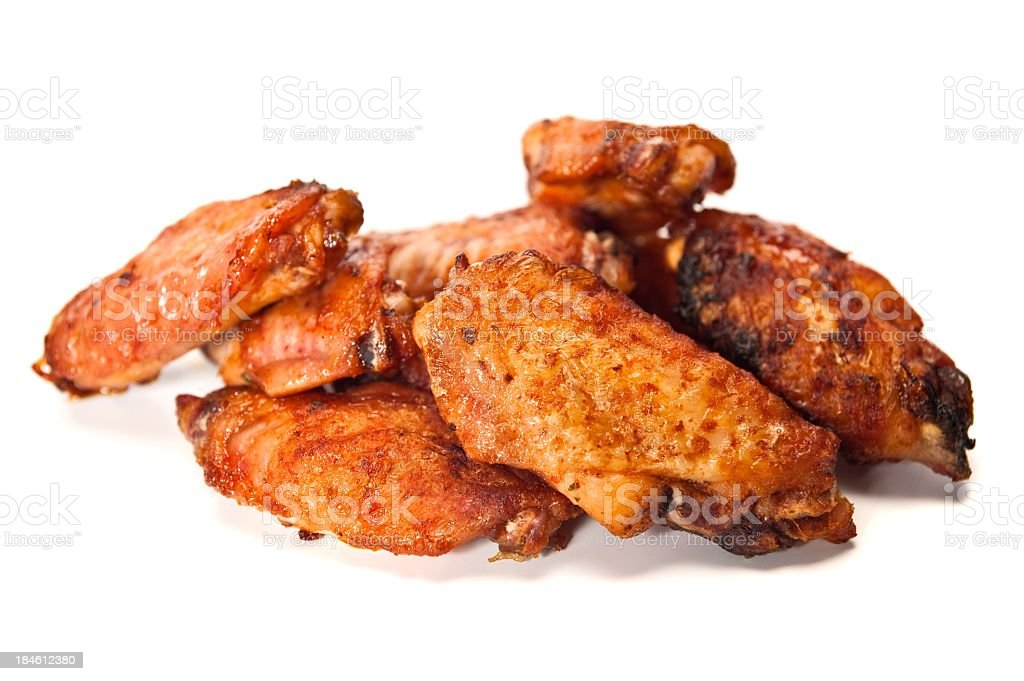 Fried chicken wings on a white background stock photo