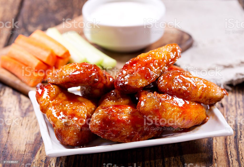 fried chicken wings stock photo