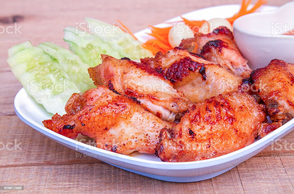Fried chicken with fish sauce stock photo