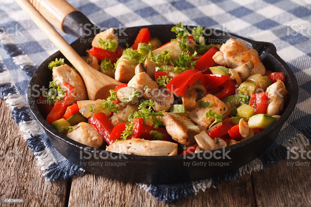 fried chicken with mushrooms, onions, peppers closeup on a pan. stock photo