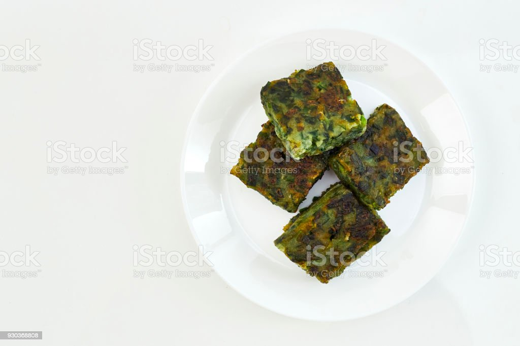Fried Chinese Pancake or Fried Steamed Dumpling Made of Garlic stock photo