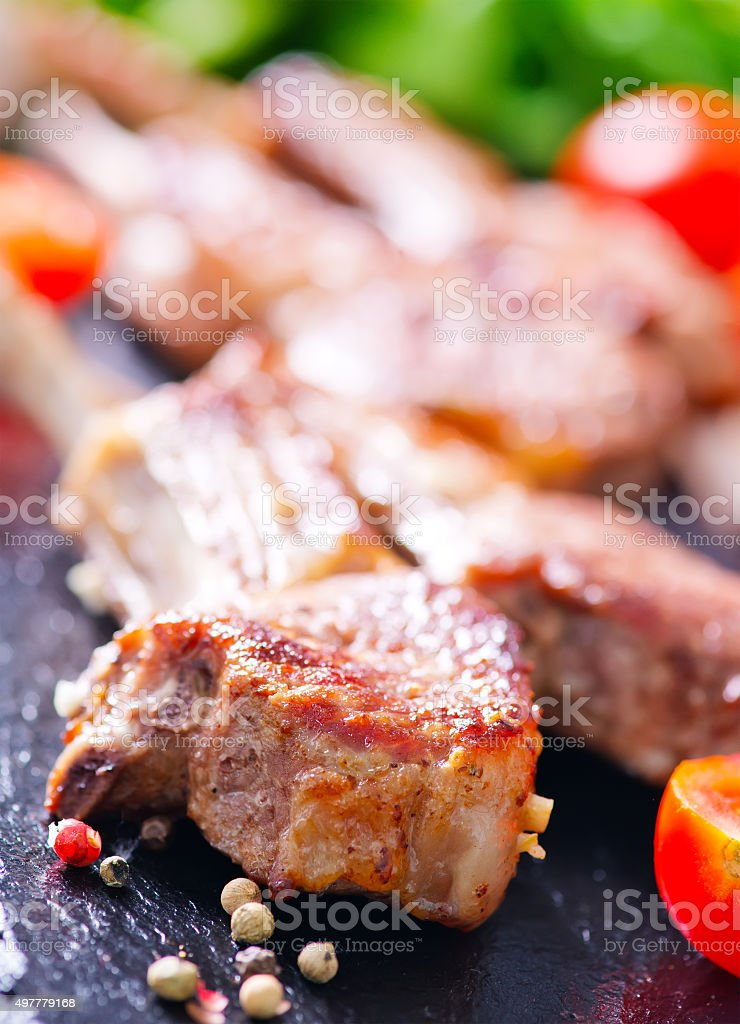 fried chop meat stock photo