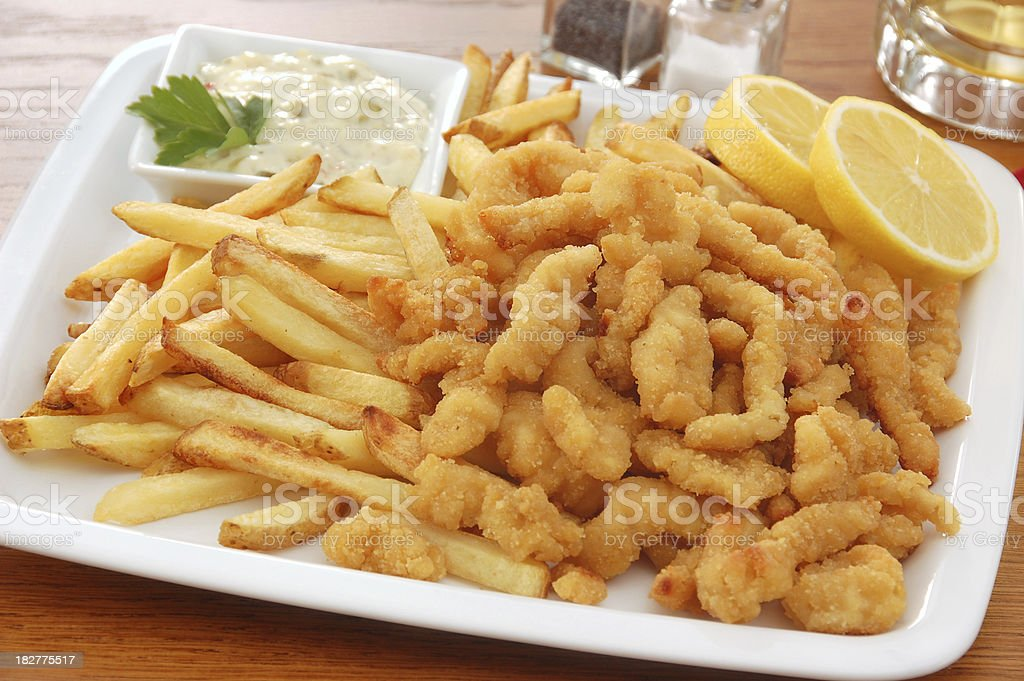 Fried Clam Platter royalty-free stock photo
