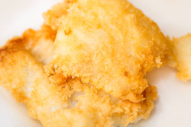 Fried cod closeup stock photo