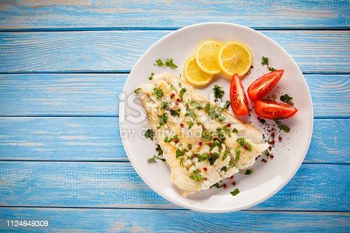 Fried cod fillet vegetables