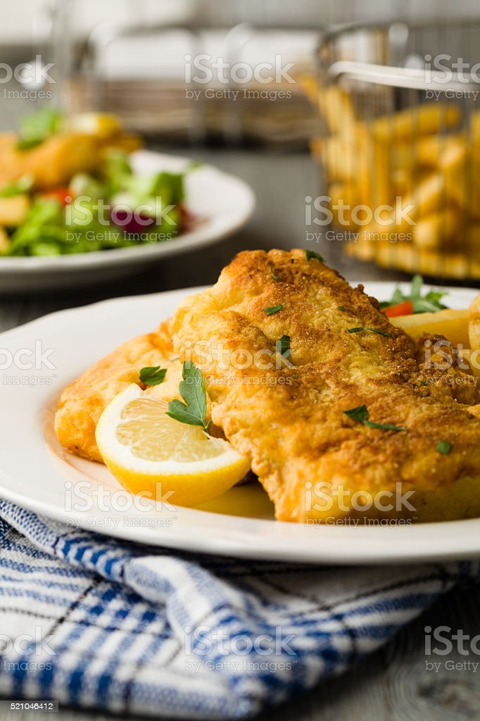 Fried cod with chips. stock photo