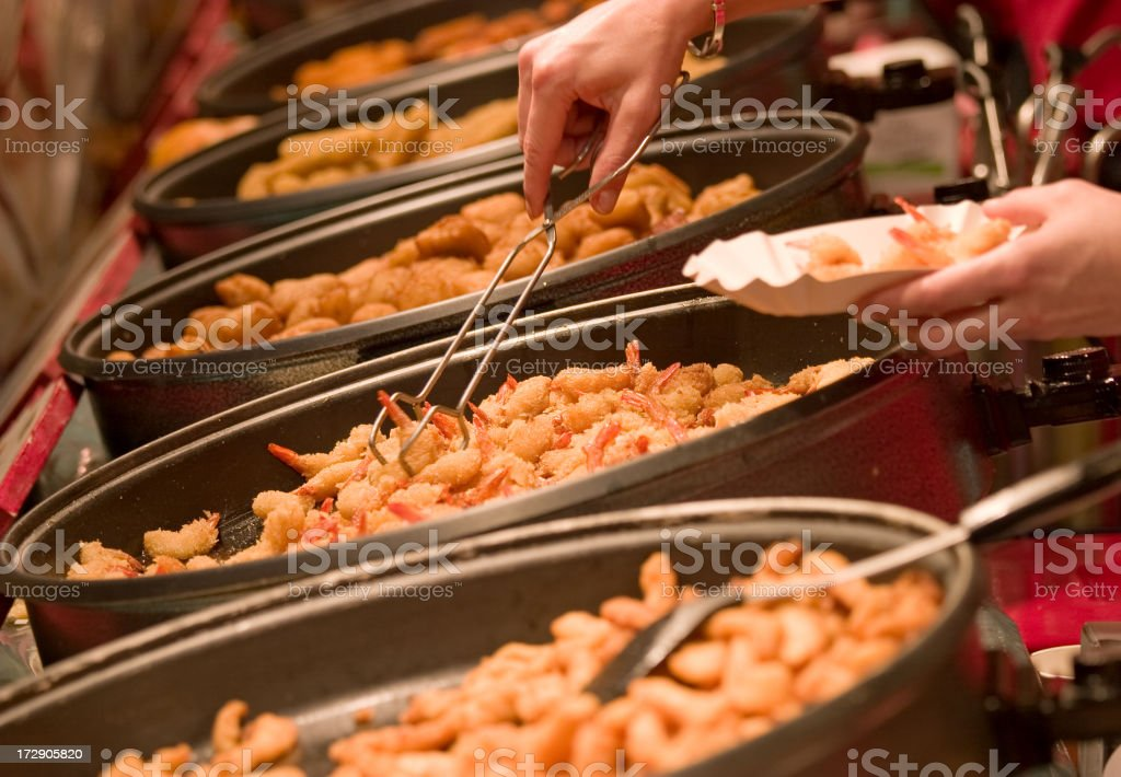 fried cooked shrimps royalty-free stock photo