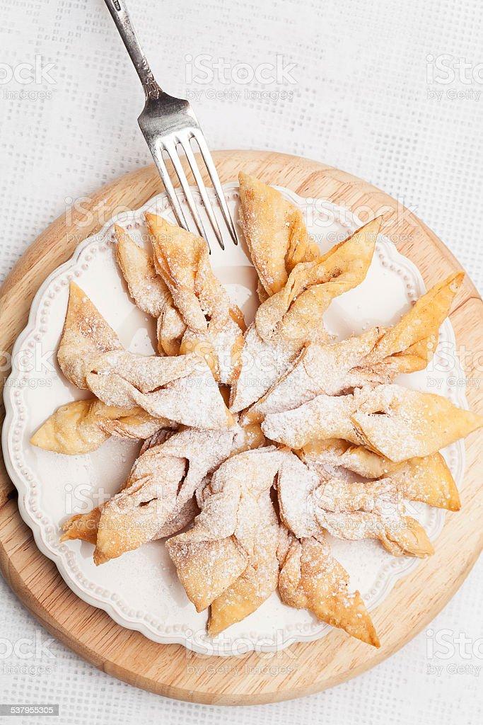 Fried cookies, faworki. stock photo