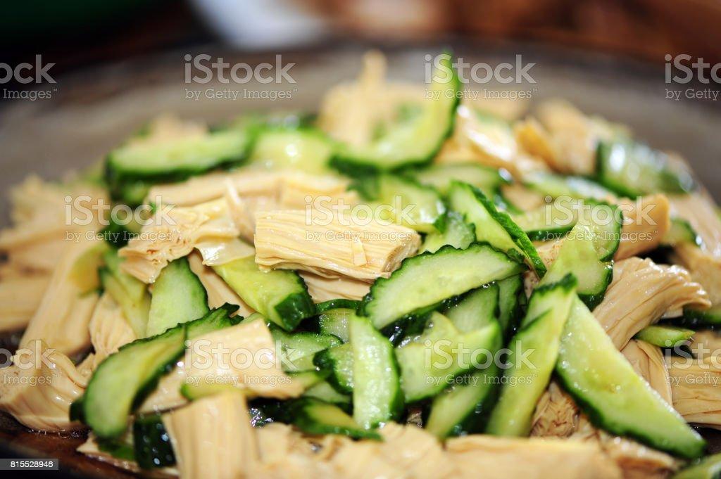 Fried cucumber, yuba, isolated    background stock photo