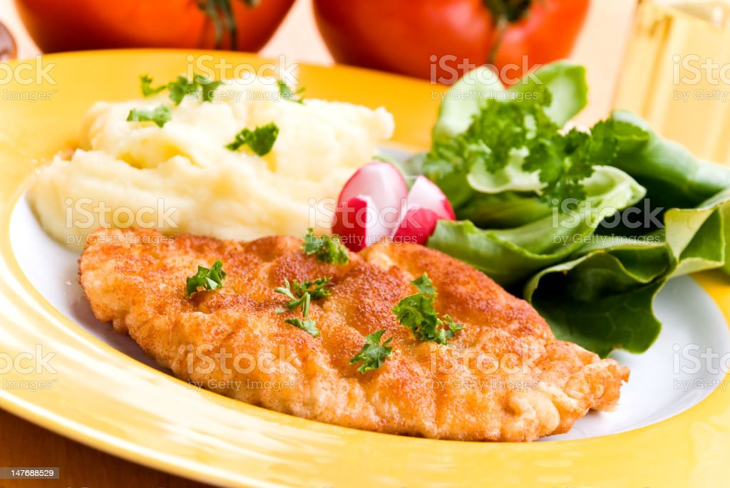 fried cutlet with salad royalty-free stock photo