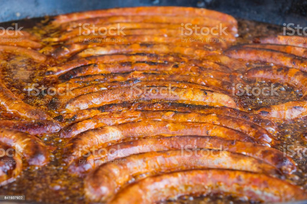 Fried delicious pork sausage stock photo