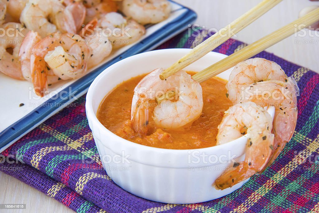 Fried delicious shrimp dip in vegetable, fish red sauce royalty-free stock photo