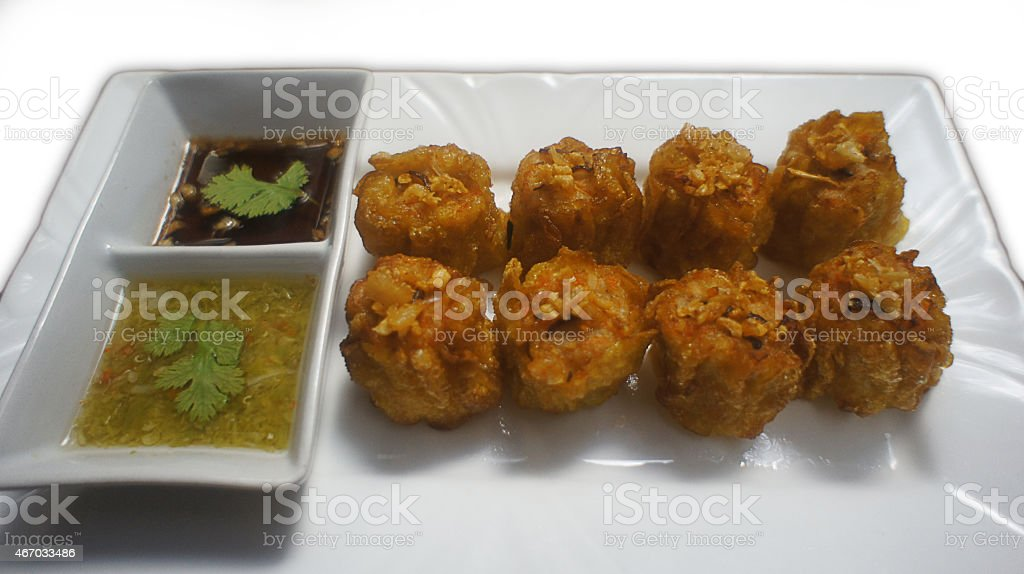 Fried Dimsum with sauces stock photo