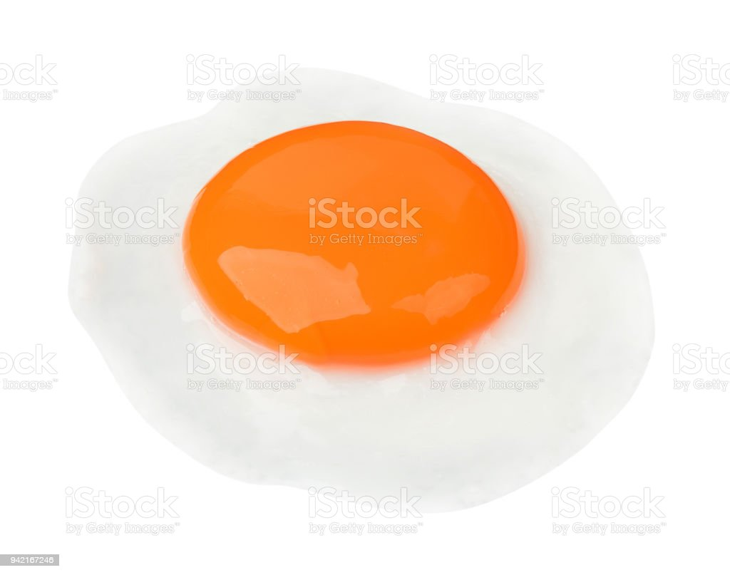 Fried egg isolated on white background food cooking photo object design stock photo