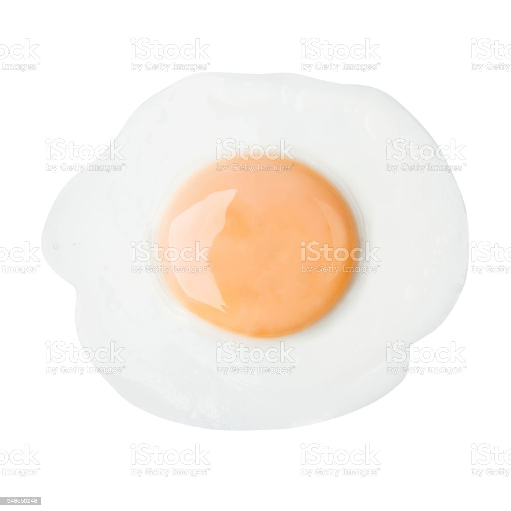 Fried egg isolated on white background on top view food cooking photo object design stock photo