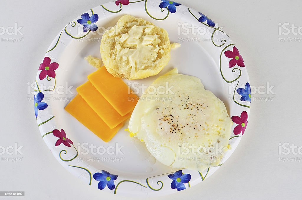 Fried Egg on Biscuit royalty-free stock photo