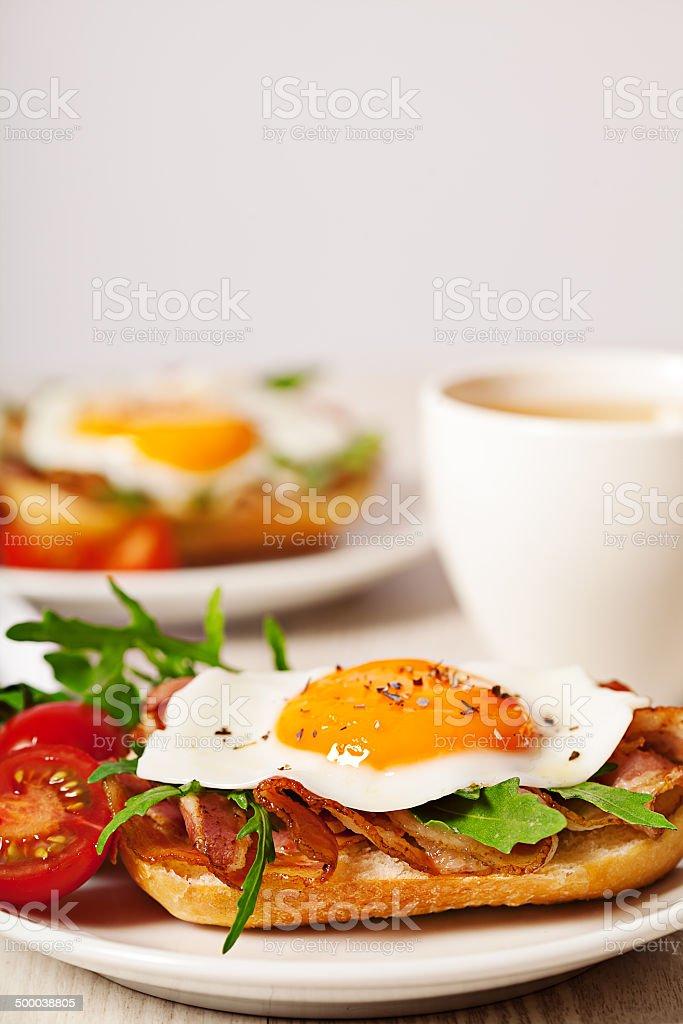 Fried egg sandwich breakfast meal stock photo