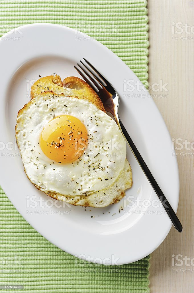 Fried egg with toast royalty-free stock photo