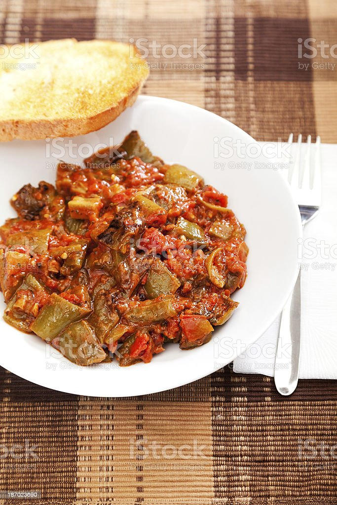 Fried eggplants with tomato sauce royalty-free stock photo