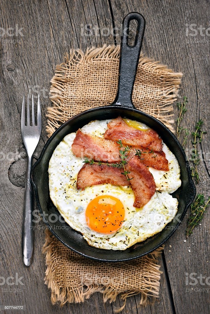 Fried eggs and bacon in frying pan stock photo