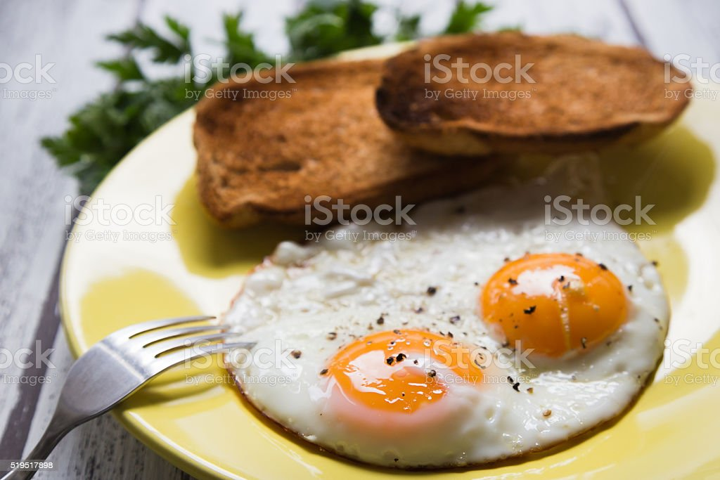 Fried eggs and toasted breads on a yellow plate stok fotoğrafı