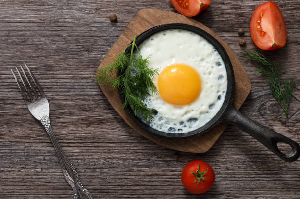 fried eggs in a frying pan. food. breakfast. healthy food. - uovo foto e immagini stock