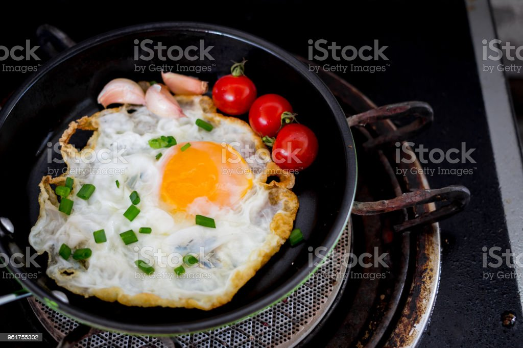 Fried eggs in pan with handle royalty-free stock photo