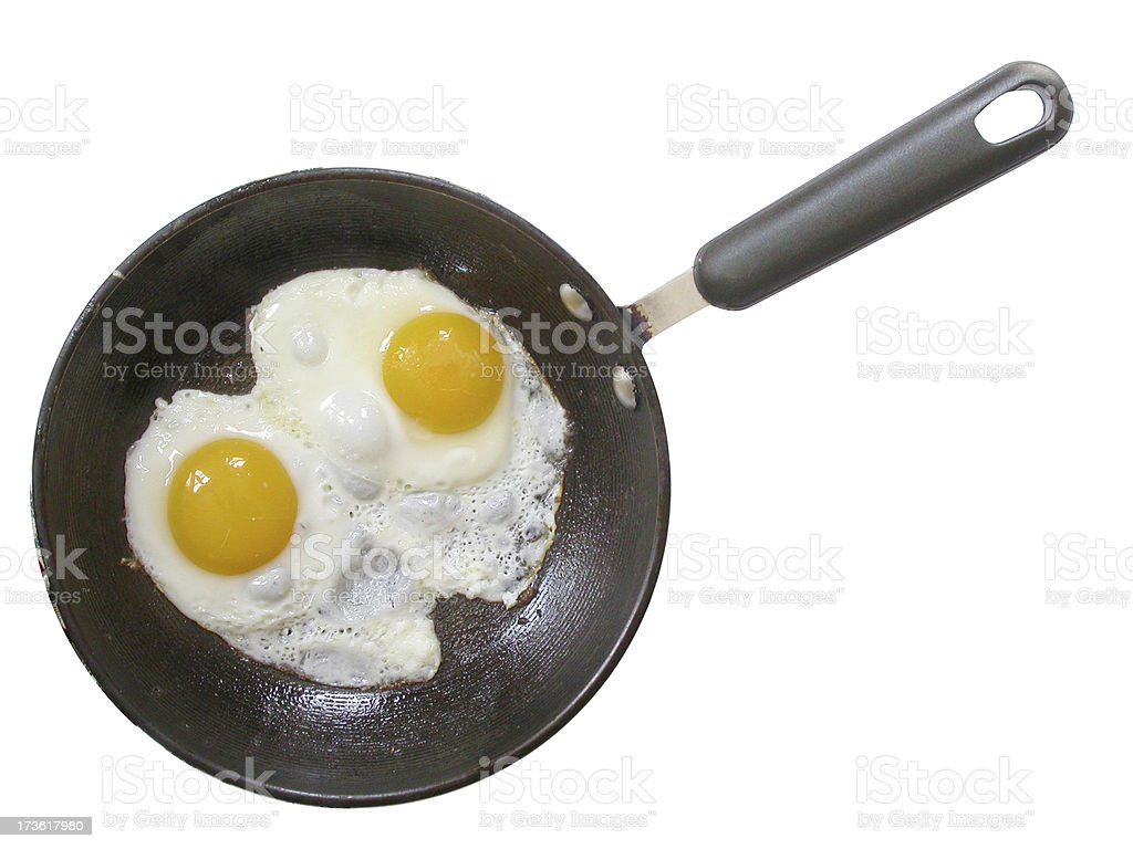 Fried eggs on the skillet royalty-free stock photo