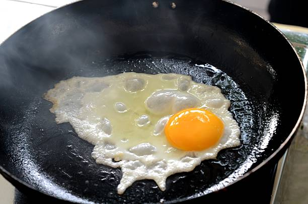 fried eggs. - fried egg stock photos and pictures