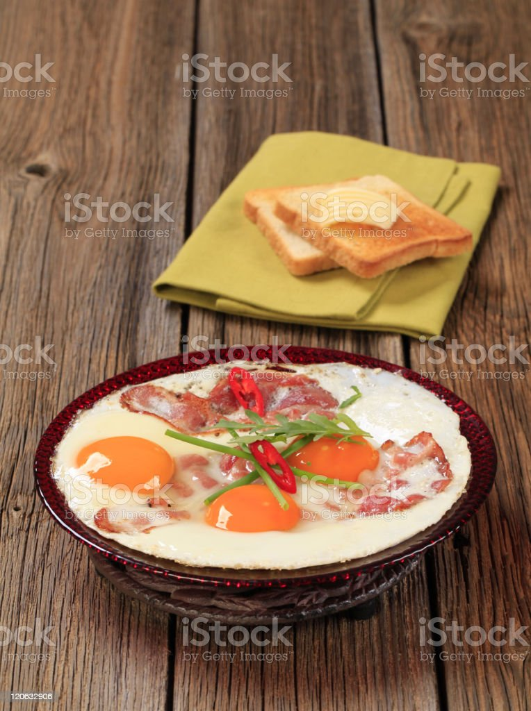 fried eggs plate bacon royalty-free stock photo