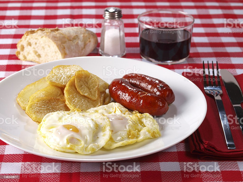 """Fried eggs & potatoes with """"chorizo"""" (red spicy sausage) stock photo"""