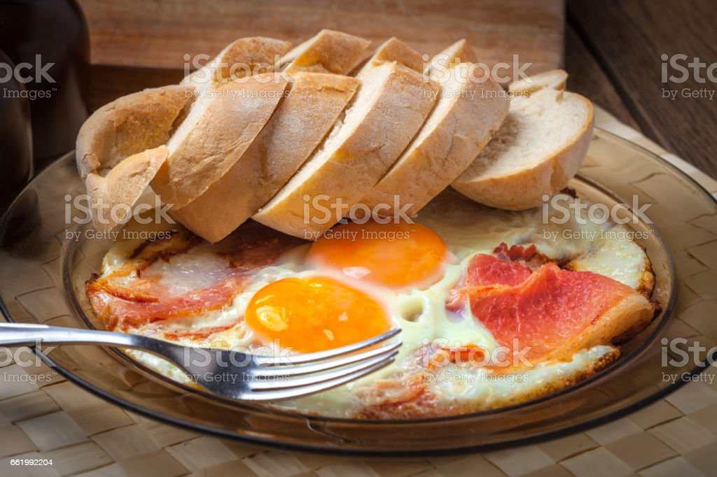 Fried eggs with bacon. royalty-free stock photo