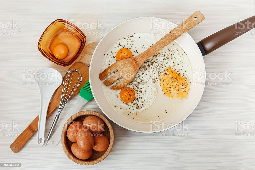 Fried eggs.frying pan,breakfast ingredients,kitchen accessories.White table. royalty-free stock photo