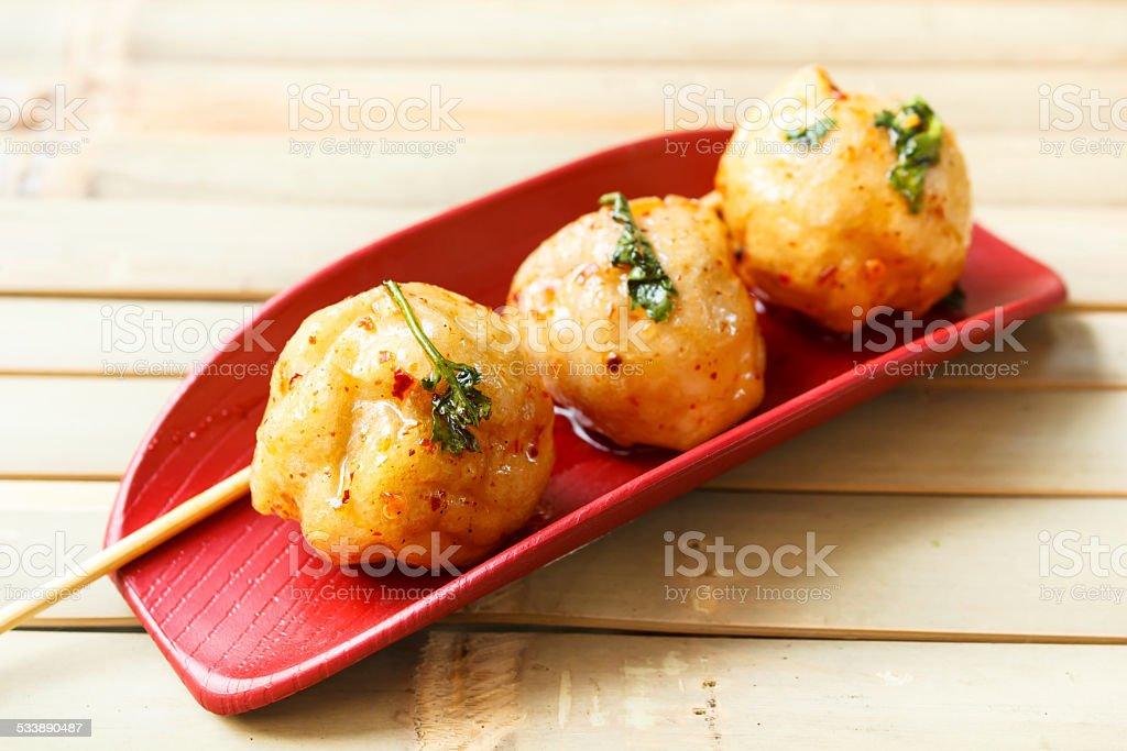 Fried fish ball. fried fish ball and sweet sauce, thai food. 2015 Stock Photo