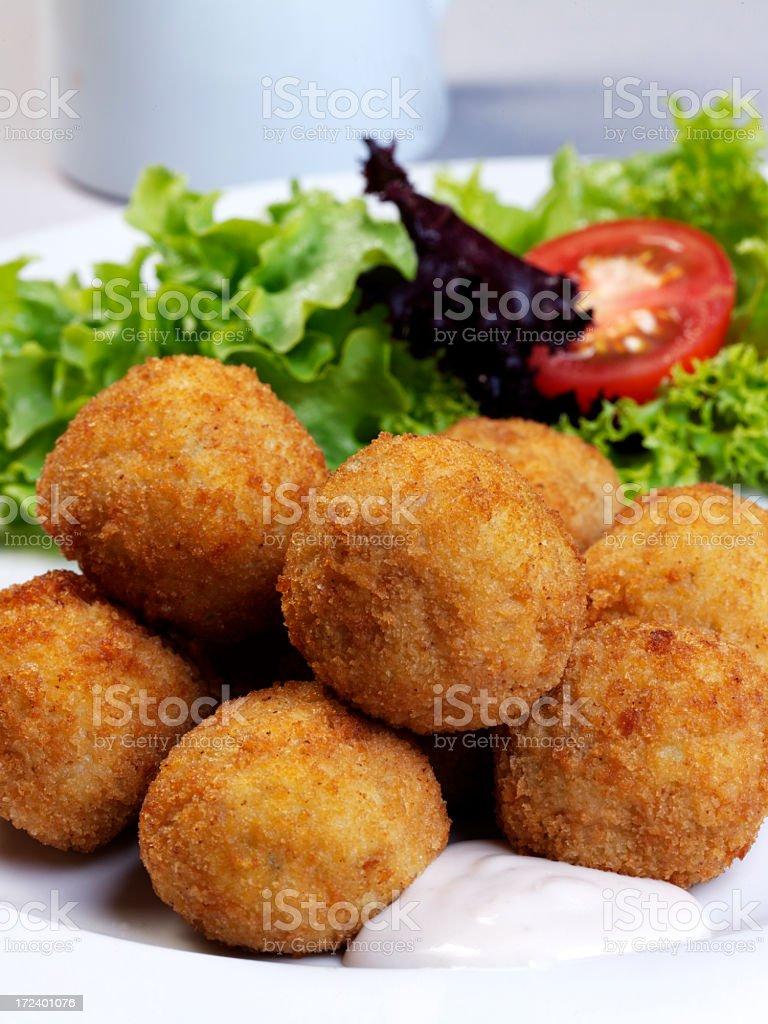 Fried fish balls with tarter sauce stock photo