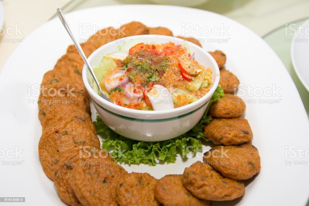 Fried Fish Cakes Thai Food stock photo