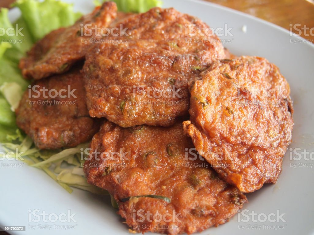 Fried fish cakes, thai food style royalty-free stock photo