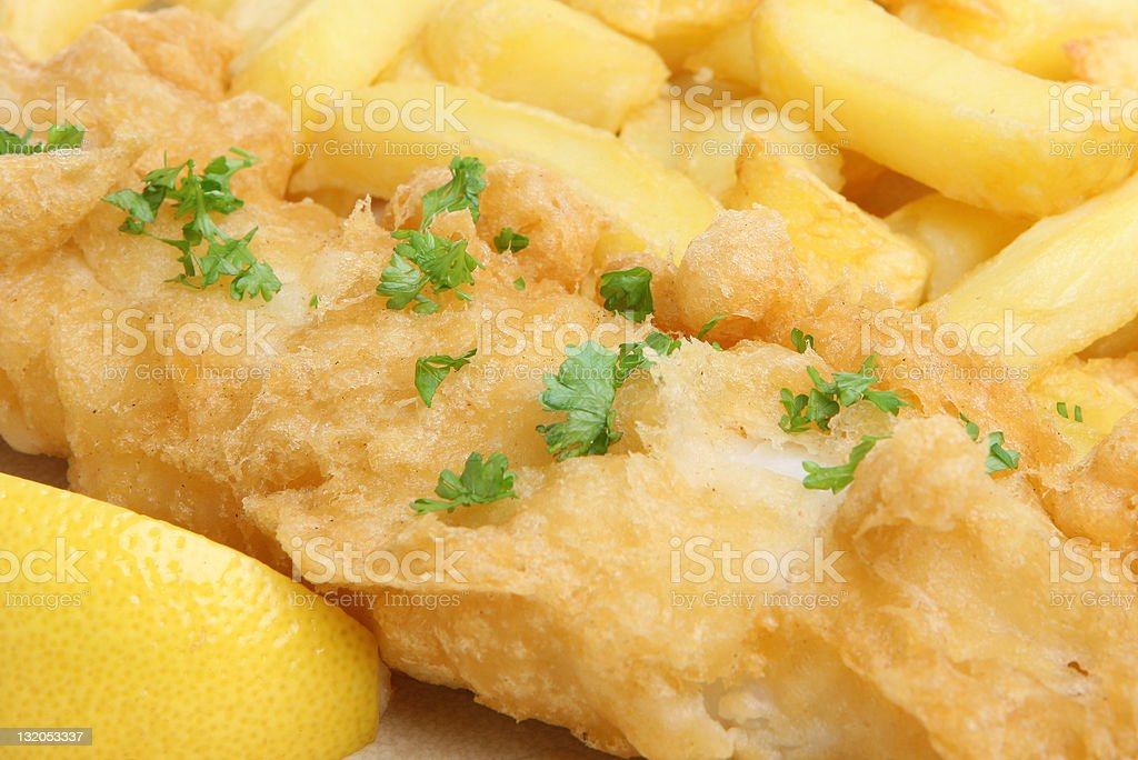 Fried Fish & Chips royalty-free stock photo