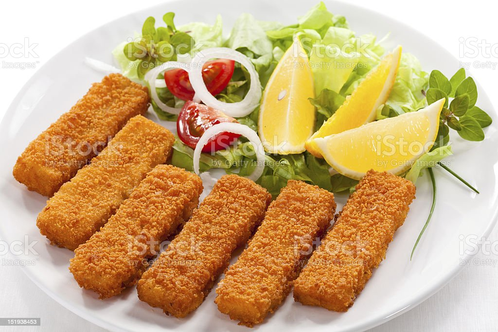 Fried fish fingers stock photo