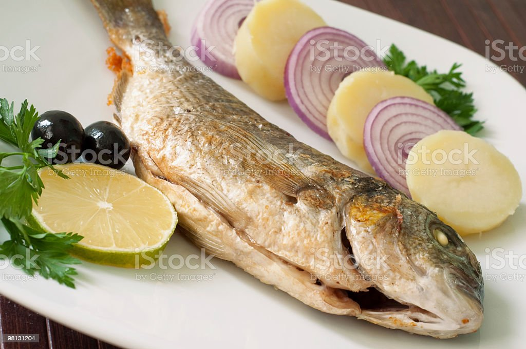 Fried fish on a plate royalty-free stock photo