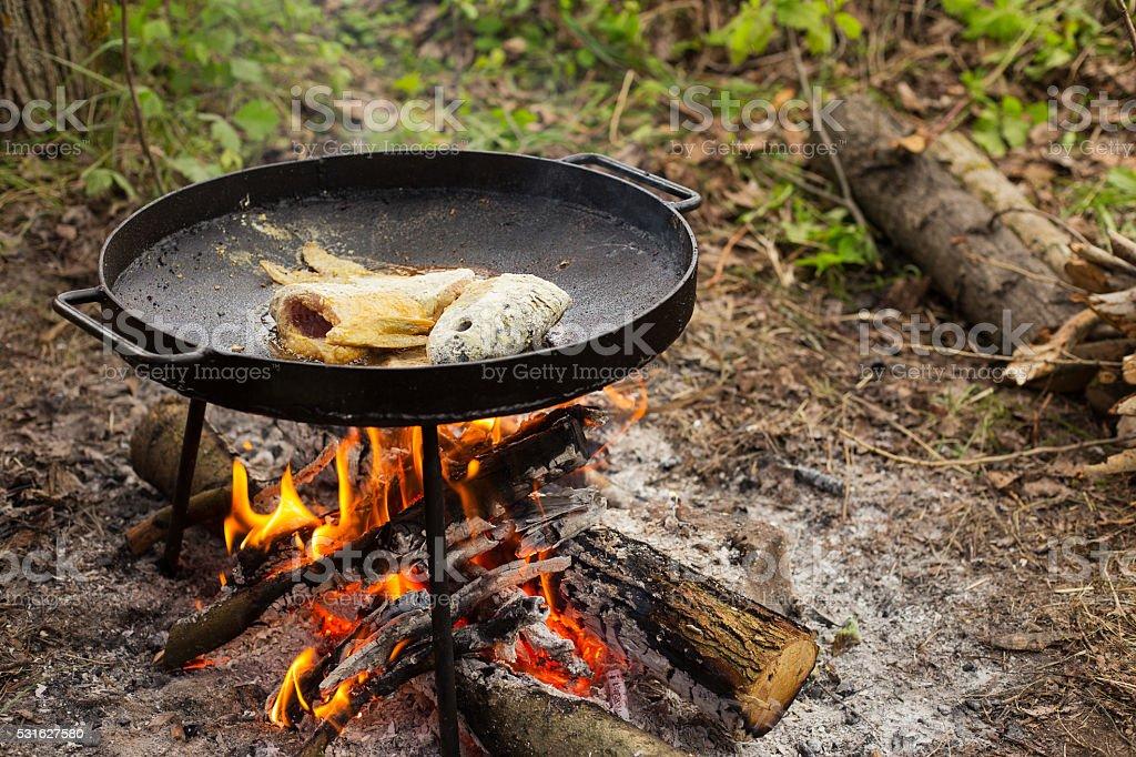 fried fish on the big pan stock photo